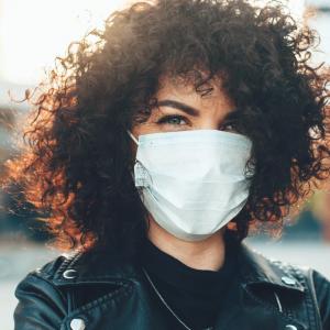 woman wearing face mask in public